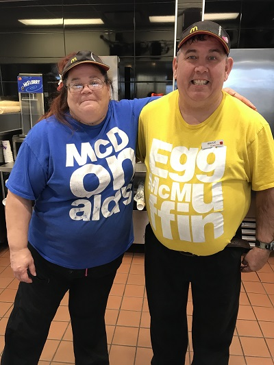 Two STEP clients enjoy working at McDonalds in Long Prairie, MN.